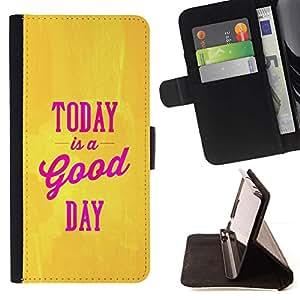 For Apple (4.7 inches!!!) iPhone 6 / 6S Case , Hoy es un texto Good Day Oro Amarillo Rosa- la tarjeta de Crédito Slots PU Funda de cuero Monedero caso cubierta de piel