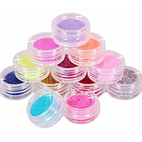 SODIAL(R) 12 Farben-Metall Glitter Nail Art Tool Kit Acryl-Puder-Staub