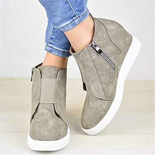 Booties Cut Platform Out Fashion Women's Leather grey Ankle green Shoes Sneaker Seraih M Zipper gwIqzn6n