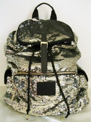 Victorias Secret Pink Bling Silver Gold Flip Sequin Backpack, Outdoor Stuffs