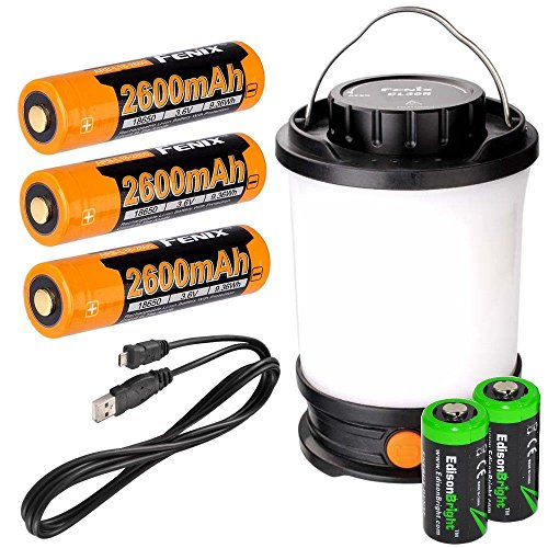 Fenix CL30R 650 lumen USB rechargeable camping lantern / work light (Black body) , 3 X 18650 rechargeable batteries with Two back-up use EdisonBright CR123A Lithium Batteries by EdisonBright