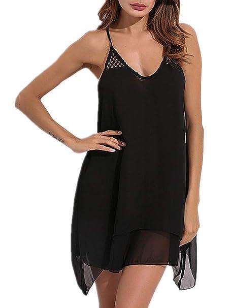 CNFIO Women Strapless Dress V-Neck Sexy Sling Floaty Chiffon Tanks Camis  Sling Beach Dress c8e3677e7