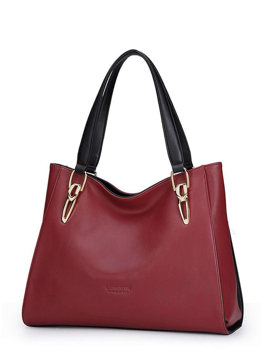 LAORENTOU Women's Bag Leather Handbag Lady Shoulder Purse Cowhide Tote (Burgundy red)