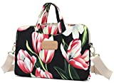 Dachee Red Tulips Patten Waterproof Laptop Shoulder Messenger Bag Case Sleeve for 11 Inch 12 Inch 13 Inch Laptop and Macbook Air Pro 11 /12/ 13