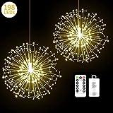 2 Pack Fairy String Lights, 198 LED Dandelion Shape Fireworks Lights, Twinkle Starburst Lights, Battery Operated Copper String Lights with Remote Control for Home, Outdoor (Dandelion Warm White)