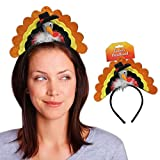 Beistle 90741 Turkey Headband. This turkey is wearing a pilgrim hat with marabou at it's neck. He has a colorful glittered fanned tail. The turkey is attached to a black felt headband. It is one size fits most.