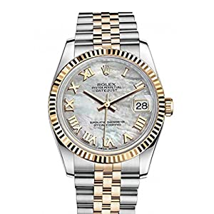 Best Epic Trends 513zJ-P2OAL._SS300_ Rolex Datejust 36mm Mother of Pearl Dial Fluted Watch 116233
