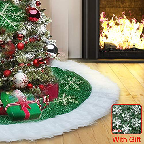 Christmas Tree Skirts 36 inch, Green and White Plush Faux Fur Luxury Tree Skirt Decorations Mat with 6 Snowflakes for Indoor Outdoor Xmas Party Decor Pet Dogs Cats Favors (Tree Green Skirt)