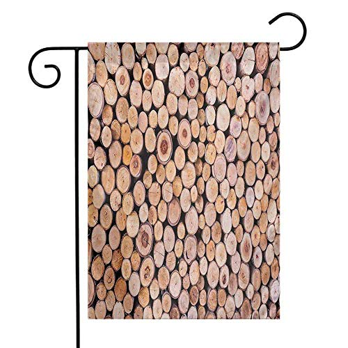 (Mannwarehouse Rustic Garden Flag Mass of Wood Logs Forest Tree Ecology Industry Group of Cut Lumber Circle Stack Image Premium Material W12 x L18 Cream)