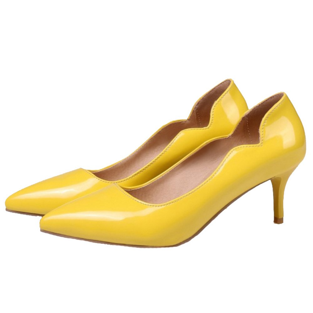 Smilice Women Plus Size US 0-13 Mid Heel Pointy Toe New Dress Pumps 6 Colors Available New B074RG3B14 46 EU = US 12 = 28 CM|Yellow 2