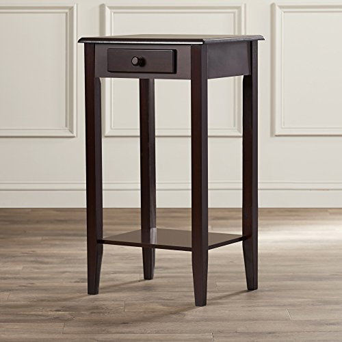 (Indoor Plant Stand, Wood Pedestal Telephone Table With Storage Drawer, Brown Cherry Finish, Contemporary)