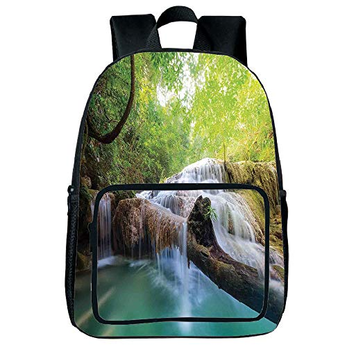 Polychromatic Optional Square Front Bag Backpack,Waterfall,Landscape with Flowing Water of Erawan Cascade in Rain Forest,Light Green Turquoise Brown,for Children,Comfortable Design.15.7