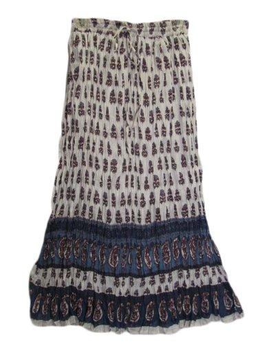 Women's Indian Crinkle Paisley Lightweight Long (Crinkle Gauze Skirt)