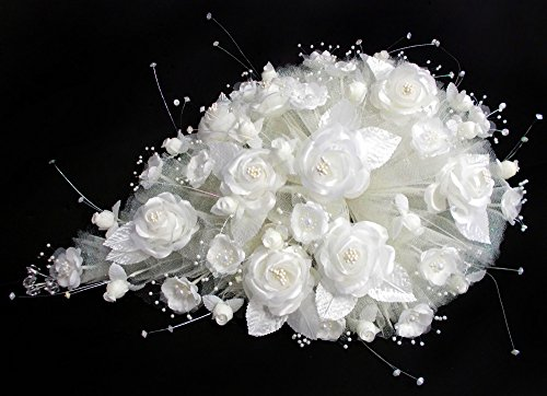 Tear Drop Bridal Quinceanera Sweet 15 Silk Flower Bouquets US Hand Made – Ivory Color (A18922)