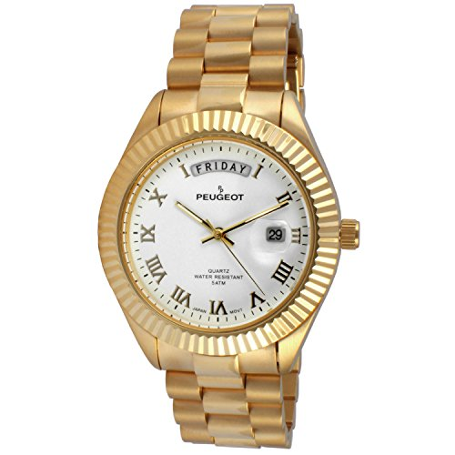 Peugeot Men's '14K All Plated Day Date Roman Numeral Big White Face Fluted Bezel Luxury' Quartz Metal and Stainless Steel Dress Watch, Color:Gold-Toned (Model: (President Watch)