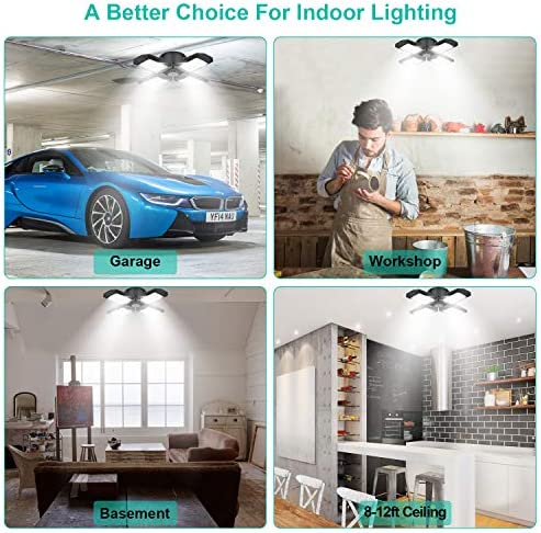 2 Pack LED Garage Lights, 80W Deformable LED Garage Ceiling Lights with 4 Adjustable Panels, 8000LM E26 LED Shop Lights for Garage, Basement, Barn, High Bay Light (Black, 2PACK)
