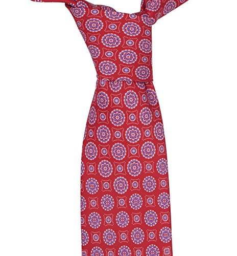 Brioni Men's Red Geometric Print 100% Silk Neck (Brioni Mens Silk Tie)