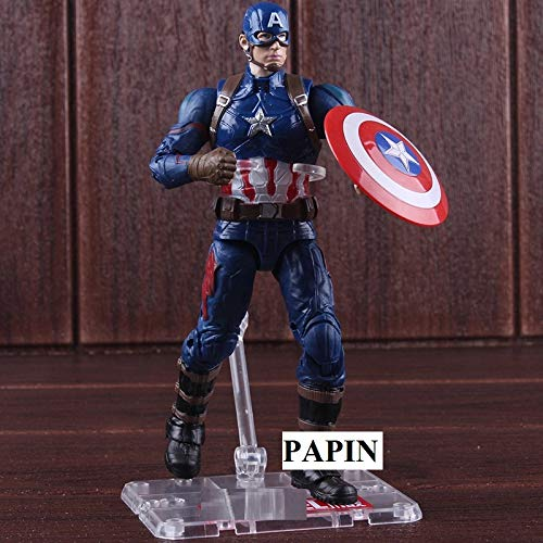 PAPIN Action Figure 7 inch Hot Toys Universe Comic Legends Movie Series Hero Model Toy Figures Christmas Halloween Collectable Gift Mini Small Collectibles Collectible Big Large Gifts for Kids Baby (Marvel Legends Series 8 Ultimate Captain America)