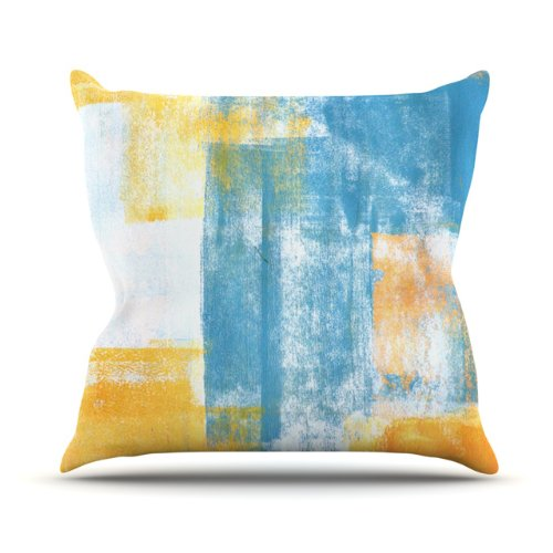 """Kess InHouse CarolLynn Tice """"Color Combo"""" Blue Yellow Outdoor Throw Pillow, 18 by 18-Inch from Kess InHouse"""
