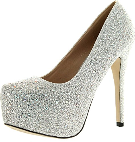 (EYE CANDIE Womens Celine-85W Shiny Platform Pumps Shoes,Silver,10)