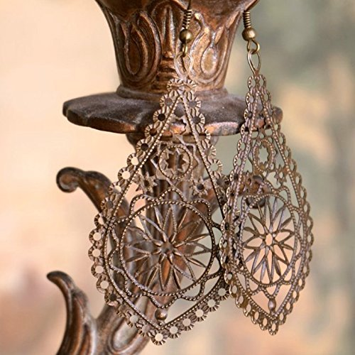 - Boho Earrings, Filigree Earrings, Bohemian Earrings, Antique Brass Earrings, Long Earrings, Lightweight Earrings, Boho Jewelry, Boho Chic Statement Earrings