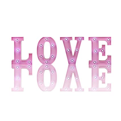 04fd9fded0bc Amazon.com  Obrecis LED Love Marquee Letter Pink Color Night Light ...