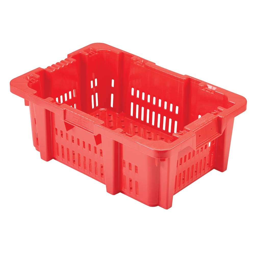 Ventilated Stack-N-Nest Red Bakery Crate with Drain Holes - 24'' x 16'' (1 Basket)