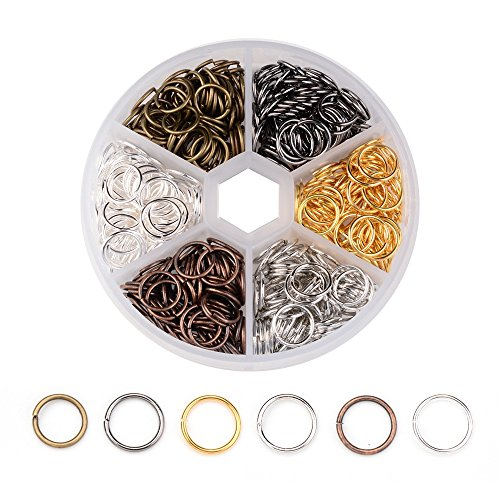 Pandahall 1Box/70g Close but Unsoldered Brass Jump Rings Open Round Rings Single Loop for Jewelry Makings Mixed Color 10x1mm