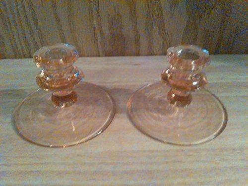 2 Pink Depression Glass - Set of 2 Pink Depression Glass Candlestick Holders