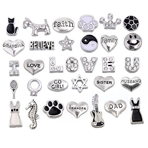 (RUBYCA 64pcs Mix Floating Charms Lot for Glass Living Memory Lockets Black and White Silver Color)