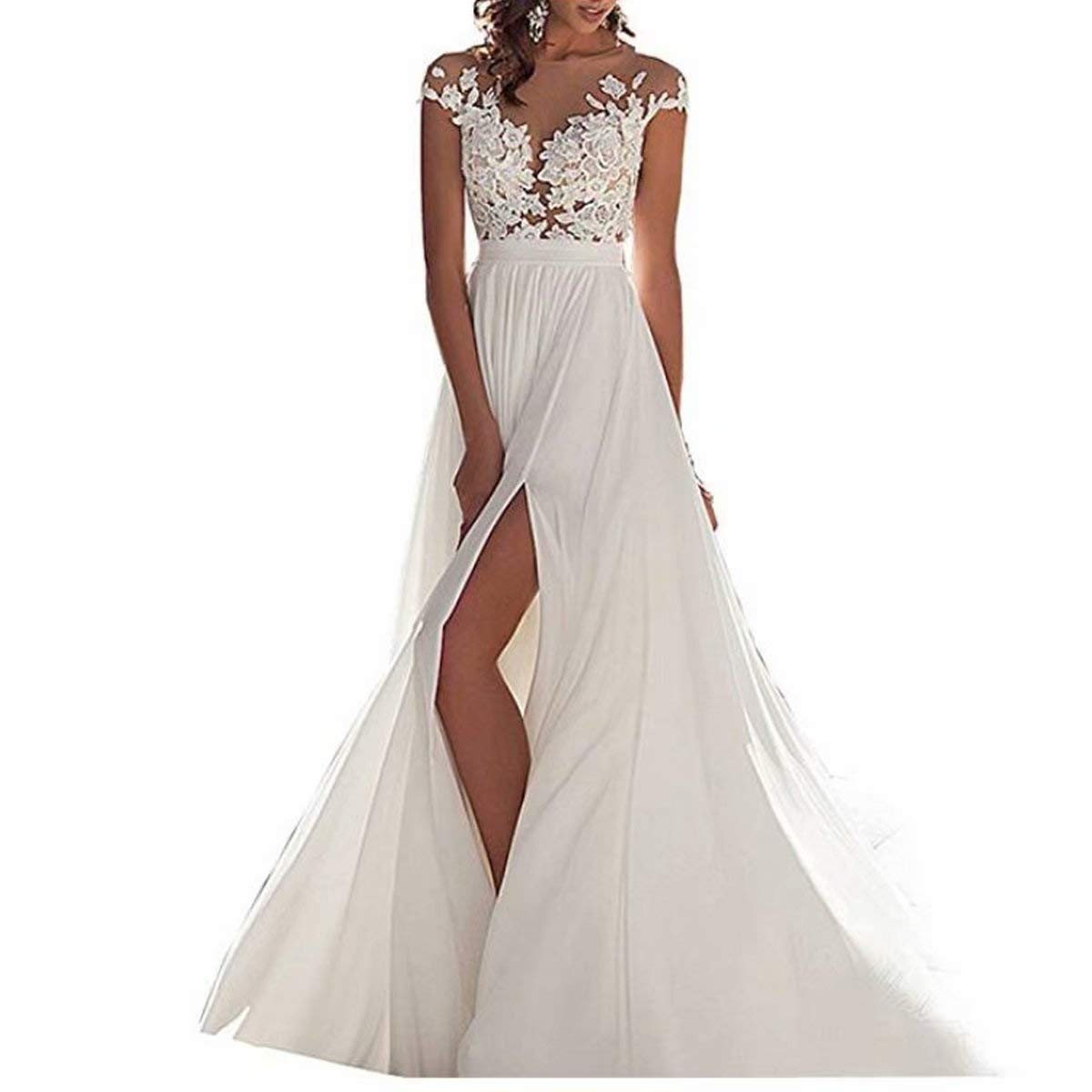 a4f82888ba8 Chady Chiffon Beach Wedding Dress 2018 Lace Back Long Tail Gowns Bride  Dresses For Weddings At