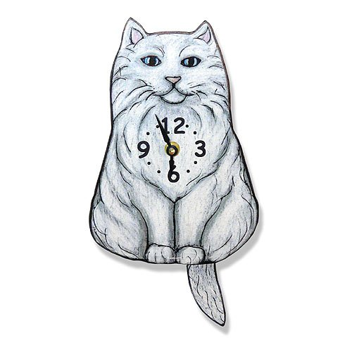 Swinging-Tail Pendulum Cat Wall Clock - Fluffy White Cat