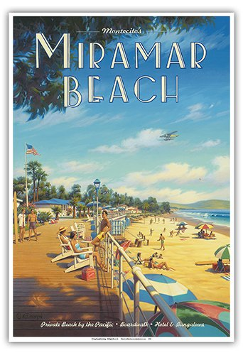 Montecito Poster (Miramar Beach Hotel - Montecito, California - Private Beach by the Pacific - Vintage Style World Travel Poster by Kerne Erickson - Master Art Print - 13 x 19in)