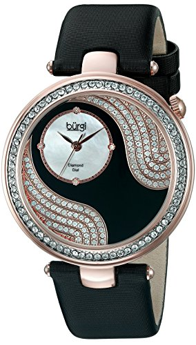Burgi Women's BUR155BKR Rose Gold-Tone Watch with Black - Womens Heart Burgi