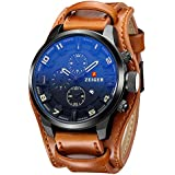 ZEIGER Men's Casual Leather Analog Watch with Black Dial Cuff Field band( Black and Brown)