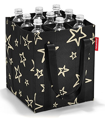 reisenthel Bottlebag, Foldable, Sturdy 9-Bottle Beverage Carrier, Stars (Strips Polyester Carrier)