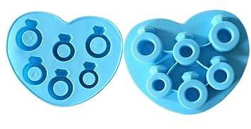 Juego de 2 moldes de silicona para cubitos de hielo, anillo de compromiso, molde