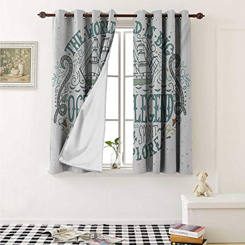 shenglv Explore Waterproof Window Curtain Vintage Nautical Design with Ocean Legend Sailor Spirit Quote and a Hand Drawn Ship Curtains for Party Decoration W84 x L72 Inch Multicolor