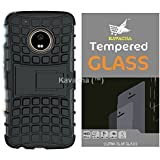 Kavacha™ Moto G5 Combo of Armor Stand Case + Premium Series Tempered Glass With Smooth Touch 2.5D Curved Edge 0.3mm thin 9H Hardness: High Quality High Definition Toughened Screen Protector for Moto G5