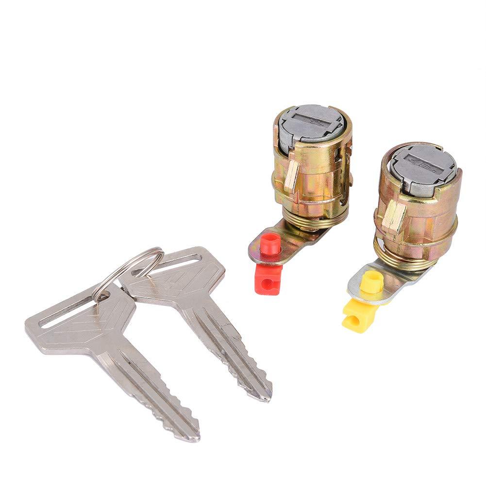 KIMISS 2Pcs Metal + Plastic Car Barrel Lock Door Lock Cylinder Set for Toyota Pickup 69051-35030 69052-35030