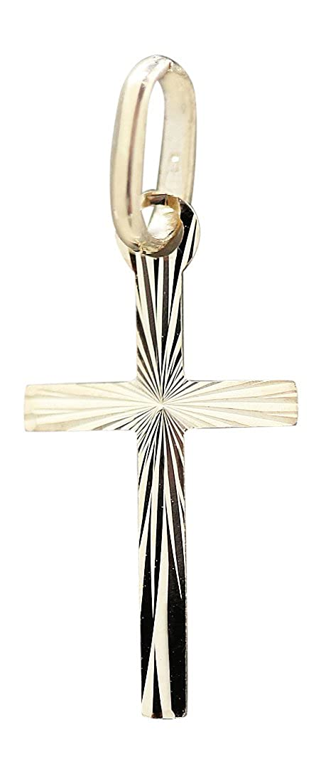 Weiß Gold 333 8 Kt Kinder Taufe Kommunion Kreuz Anhänger Mit