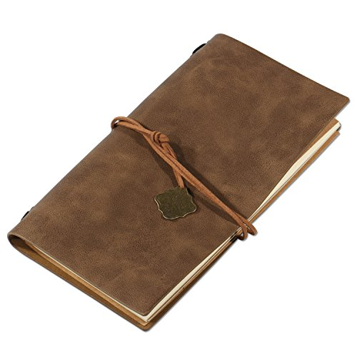 Zekkai Leather Journal Writing Notebook, Antique Handmade Leather Bound Daily Notepad with Retro Pendant Perfect for Writing, Gifts, Travelers, Professional, Diary
