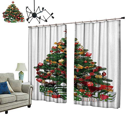 PRUNUS Room Darkening Curtain with Hooked Decorated Christmas fir Tree with Gifts Thermal Insulated Blackout Window Curtain,W96.5 xL108