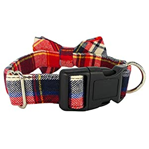 Kebs Cat & Dog Bow Tie Collar Soft & Comfy Classic Plaid Bowtie Adjustable Bowtie Collar for Small/Medium/Large Dogs Red