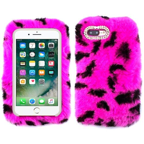 for Apple iPhone 10 X XS Plus Hot Pink Cheetah Leopard Fur Furry Fluffy Case Soft Cover with Free Pouch