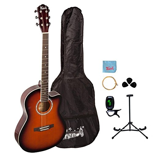 Trendy 38 Inch Spruce Top Dreadnought Acoustic Guitar, Black