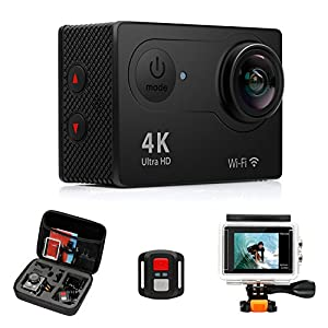 FITFORT Action Camera 4K WiFi Ultra HD Waterproof Sport Camera 2 Inch LCD Screen 12MP 170 Degree Wide Angle 2 Rechargeable 1050mAh Batteries Free Travel Bag Include 19 Accessories Kits