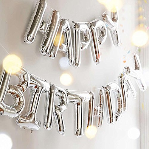 Outgeek Happy Birthday Balloons, Happy Birthday Banner Foil Letters Balloons Mylar Balloons for Birthday Party Decoration ()