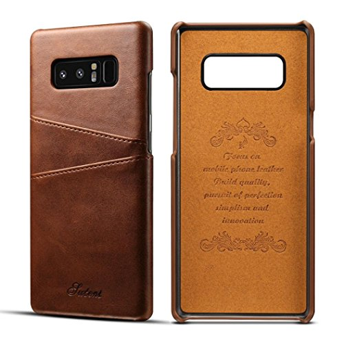 Price comparison product image For Samsung Galaxy Note 8 Case, Iusun Premium Leather Card Slots BackCover Protective Cover For Samsung Galaxy Note 8 (Brown, Samsung Galaxy Note 8)