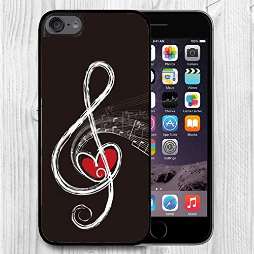 (for iPod Touch Case,iPod 6 Black Case, FTFCASE Case TPU Rubber Gel Design for Apple iPod Touch 6th Generation - Red Heart and Music Note)